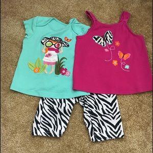 Gymboree zebra safari 3 pc girls 2T set